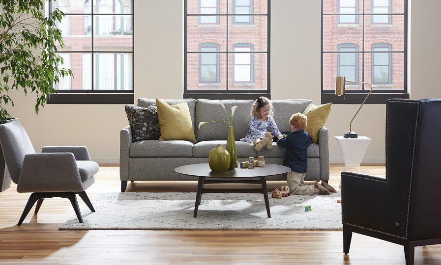 American Leather Harris Comfort Sleeper-kids playing