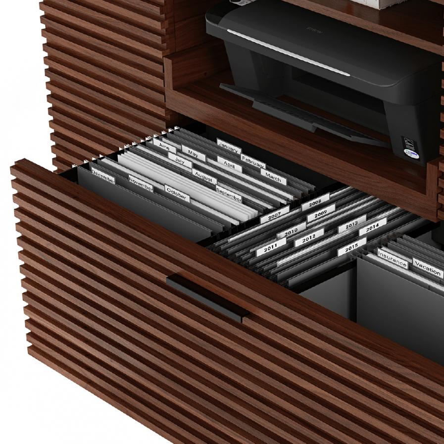 BDI Corridor Multifunction Cabinet 6520 Choc Walnut Closeup