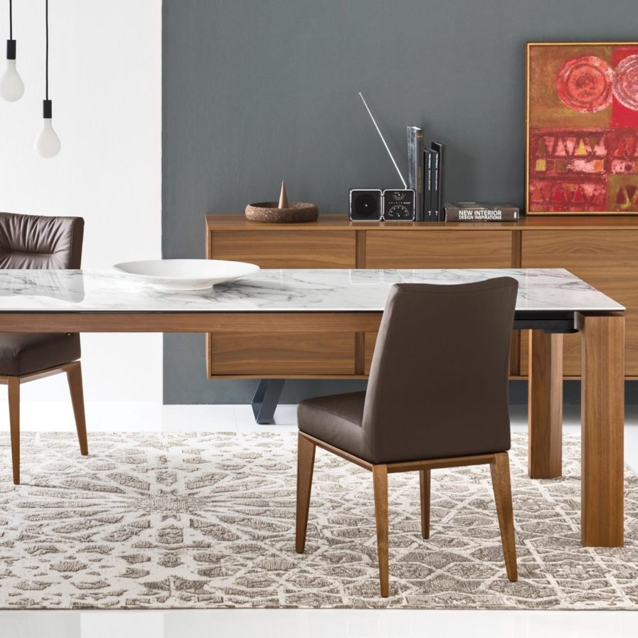 calligaris omnia extendable table_tosca chair_secret buffet