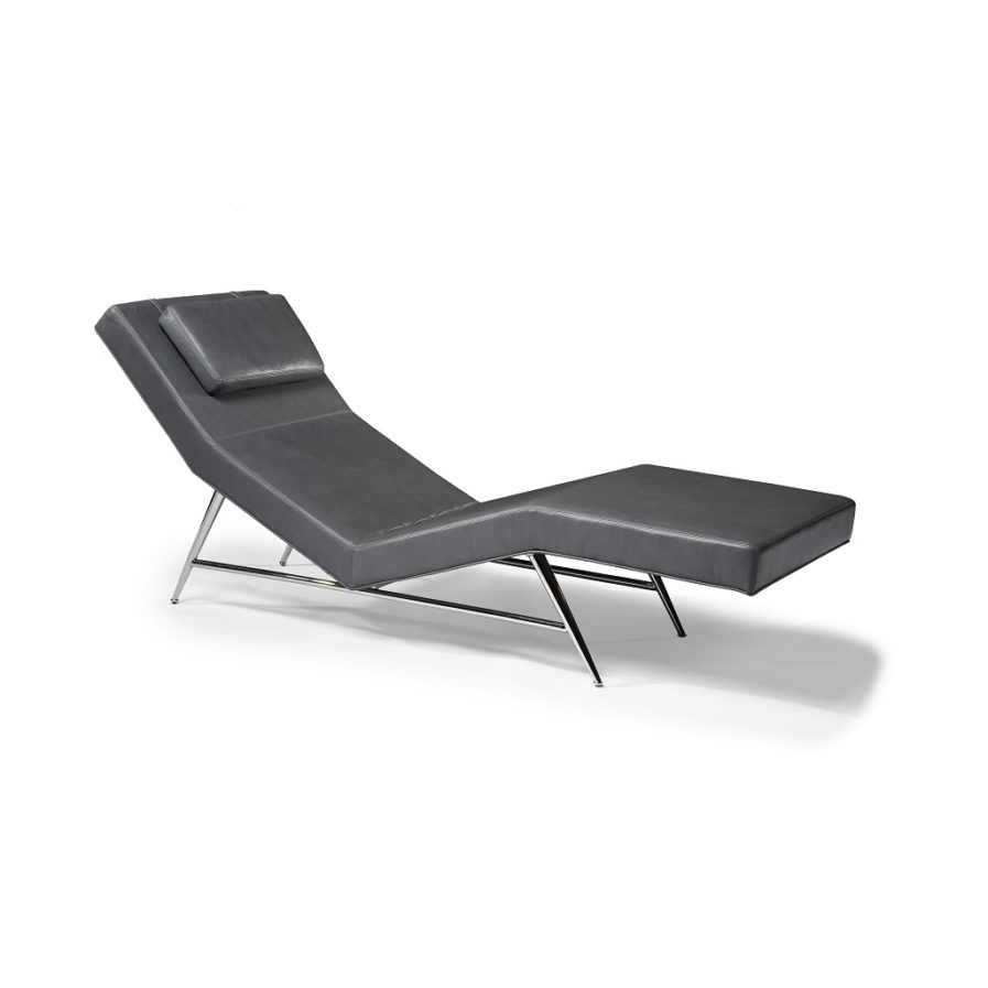 Thayer Coggin Fred 1231-400 Chaise gray leather