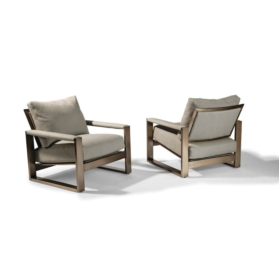 Thayer Coggin Chunky Milo 1372-103-B Pair of Lounge Chairs