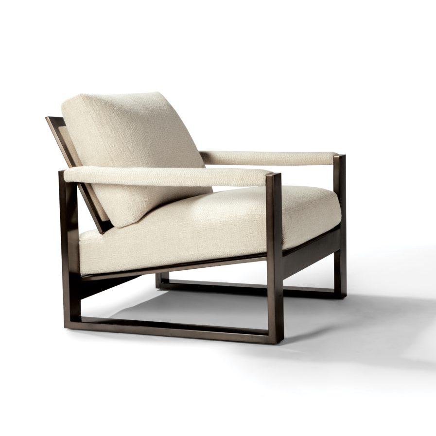 Chunky Milo 1372-103-DB Lounge Chair white fabric