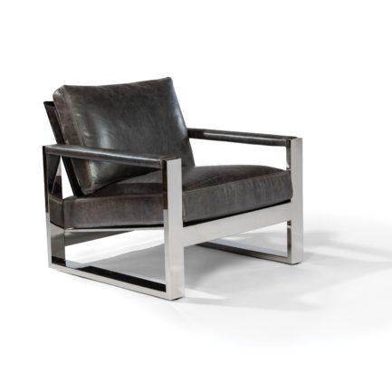 Thayer Coggin Chunky Milo Lounge Chair black leather chrome frame