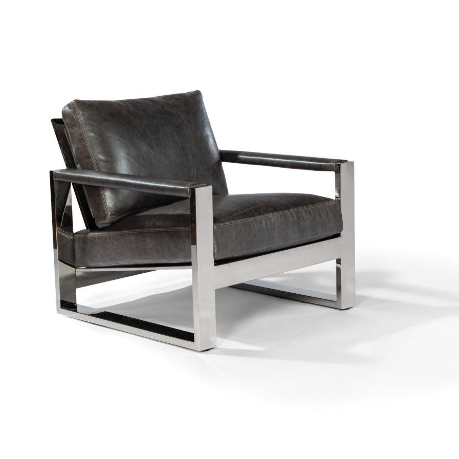 Thayer Coggin Chunky Milo Lounge Chair black leather chrome frame