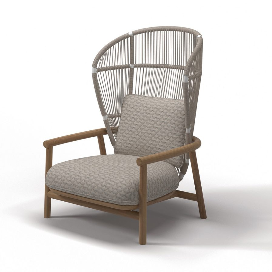 Gloster Fern-High-Back-Lounge-Chair-White-Dune